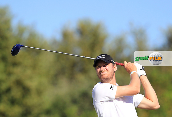 Chris Wood (ENG) on the 1st tee during Round 4 of the Open de Espana  in Club de Golf el Prat, Barcelona on Sunday 17th May 2015.<br /> Picture:  Thos Caffrey / www.golffile.ie
