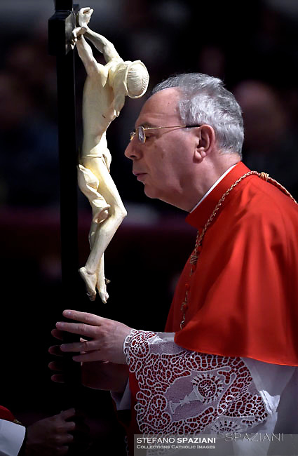 Cardinal Dominique Mamberti ,Pope Francis the ceremony of the Good Friday Passion of the Lord Mass in Saint Peter's Basilica at the Vatican.March 30, 2018