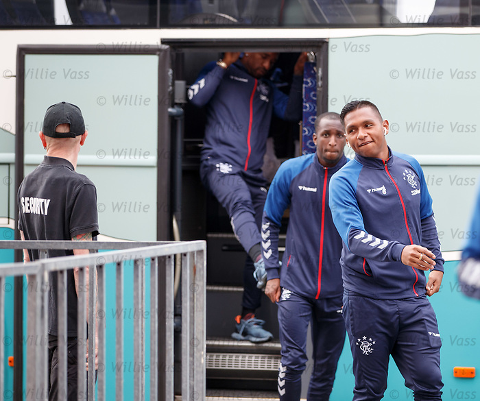07.08.2019 FC Midtjylland and Rangers pressers: Alfredo Morelos arriving at the MCH Arena in Herning, Denmark
