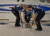 Glasgow. SCOTLAND. Scotland's, Lauren GRAY, releasing the &quot;Stone&quot; during the  Le Gruy&egrave;re European Curling Championships. round robin match between Scotland vs Sweden at the  2016 Venue, Braehead  Scotland<br /> Sunday  20/11/2016<br /> <br /> [Mandatory Credit; Peter Spurrier/Intersport-images]