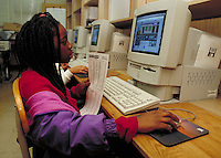 Student working in a school computer lab.