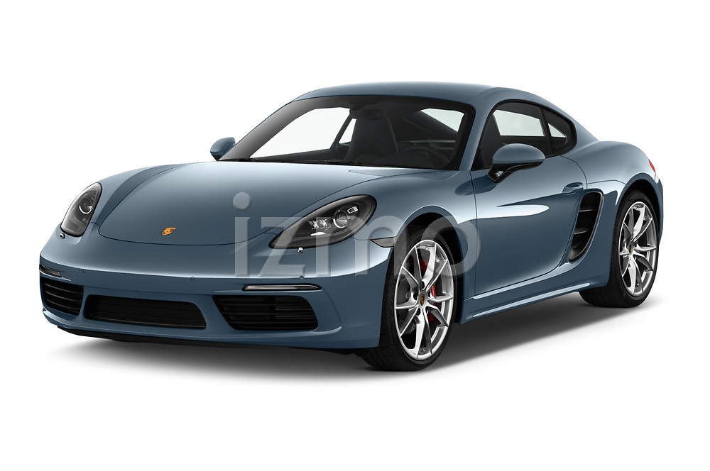 2018 Porsche 718 Cayman S 2 Door Coupe angular front stock photos of front three quarter view