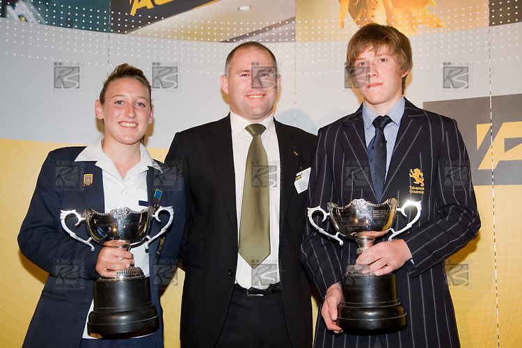 Mark Hayward from ASB Bank with Overall Winners Annalie Longo & Paul Snow-Hansen. ASB College Sport Young Sportperson of the Year Awards 2007 held at Eden Park on November 15th, 2007.