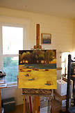 USA, Oregon, Willamette Valley, painting of a field with hay bails, Big Table Farms, painting by Clare Carver