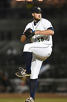 Relief pitcher Joshua Payne (38) of the Columbia Fireflies delivers a pitch during a game against the Charleston RiverDogs on Tuesday, August 28, 2018, at Spirit Communications Park in Columbia, South Carolina. (Tom Priddy/Four Seam Images)