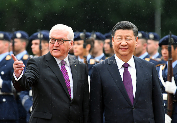 German president Frank-Walter Steinmeier (L) receives the Chinese president Xi Jinping in the Bellevue Palace in Berlin, Germany, 5 July 2017. The Chinese president is visiting Berlin ahead of the G20 summit in Hamburg (7-8 July 2017). Photo: Ralf Hirschberger/dpa-Zentralbild/dpa /MediaPunch ***FOR USA ONLY***