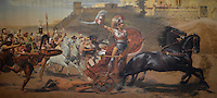 Michael McCollum.6/14/11.A fresco depicting the Trojan War, at the Achillion Palace is one of the most popular tourist destinations on Corfu. , Greece.