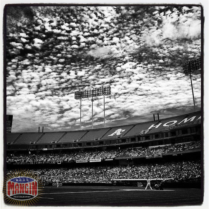 OAKLAND, CA - JULY 20: Instagram of a general scene with clouds during the game between the Baltimore Orioles and Oakland Athletics at O.co Coliseum on July 20, 2014 in Oakland, California. Photo by Brad Mangin