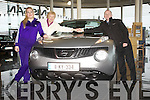 Finbarr McCAnn of Randalls Brothers Tralee congratulates Betty Flynn and her daughter Sarah from Castlegregory on bring the first in Kerry to purchase the just launched Nissan Juke which is the Irish car of the year 2011.