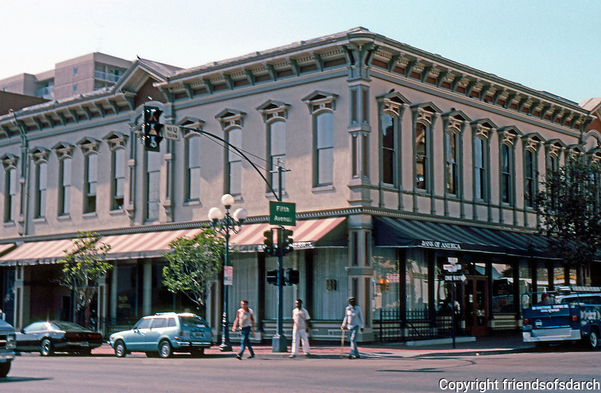 San Diego: Backesto Block 1887. 614 5th Ave. Burkett & Osgood. Classical Revival, Victorian style. Photo 1982.