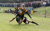 Saturday 17th February 2018   RBAI vs Sullivan<br /> <br /> Jude Postlethwaite is tackled short of the line during the Ulster Schools' Cup Quarterfinal between RBAI and Sullivan at Cranmore Park, Belfast, Northern Ireland. Photo by John Dickson / DICKSONDIGITAL
