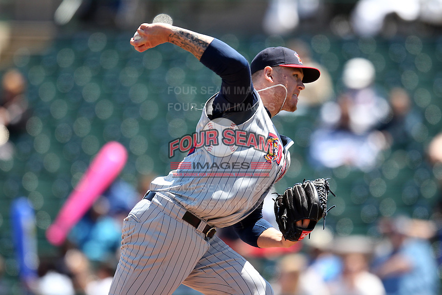 Toledo Mudhens relief pitcher Ryan Perry #40 delivers a pitch during a game against the Rochester Red Wings at Frontier Field on June 2, 2011 in Rochester, New York.  Rochester defeated Toledo 8-0.  Photo By Mike Janes/Four Seam Images