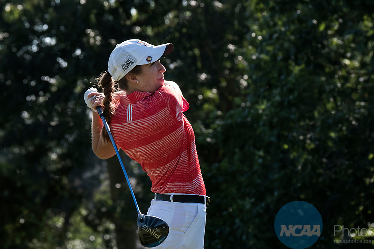 HOUSTON, TX - MAY 12: Mackenzie Cohen of Rhodes College tees off during the Division III Women's Golf Championship held at Bay Oaks Country Club on May 12, 2017 in Houston, Texas. (Photo by Rudy Gonzalez/NCAA Photos/NCAA Photos via Getty Images)