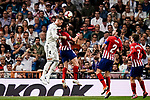 Sergio Ramos of Real Madrid (L) fights for the ball with Saul Niguez of Atletico de Madrid (R) during their La Liga  2018-19 match between Real Madrid CF and Atletico de Madrid at Santiago Bernabeu on September 29 2018 in Madrid, Spain. Photo by Diego Souto / Power Sport Images