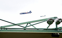 The Battle of Britain Memorial Flight over Lincoln City's Sincil Bank Stadium<br /> <br /> Photographer Andrew Vaughan/CameraSport<br /> <br /> The EFL Sky Bet League Two - Lincoln City v Morecambe - Saturday August 12th 2017 - Sincil Bank - Lincoln<br /> <br /> World Copyright &copy; 2017 CameraSport. All rights reserved. 43 Linden Ave. Countesthorpe. Leicester. England. LE8 5PG - Tel: +44 (0) 116 277 4147 - admin@camerasport.com - www.camerasport.com