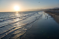 Photo of the beach from the Santa Monica pier, Aug. 22, 2012. (Photo by Marc Campos, Occidental College Photographer)