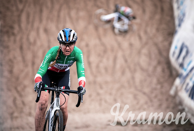 Italian Champion Eva Lechner (ITA/Creafin-Fristads) a in the infamous 'Pit' (and a crash in the background)<br /> <br /> <br /> CX Superprestige Zonhoven (BEL) 2019<br /> women's race