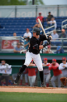 Batavia Muckdogs Sean Reynolds (25) at bat during a NY-Penn League game against the Williamsport Crosscutters on August 27, 2019 at Dwyer Stadium in Batavia, New York.  Williamsport defeated Batavia 11-4.  (Mike Janes/Four Seam Images)