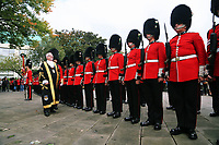 Pictured: Councillor Philip Downing inspects the Welsh Guards in Castle Square in Swansea.  Friday 15 September 2017<br />