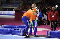 SCHAATSEN: HEERENVEEN: IJsstadion Thialf, 11-01-2013, Seizoen 2012-2013, Essent ISU EK allround, 500m Men, Sven Kramer (NED), Gerard Kemkers (trainer/coach TVM), ©foto Martin de Jong