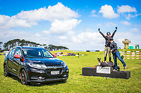 NZL-Virginia Thompson is presented with a brand new vehicle from Nadine Bell, Director of Marketing for Honda New Zealand for winning the CCI3* for the second consecutive year (Final-1ST). 2016 NZL-Puhinui International 3 Day Event. Puhinui Reserve, Auckland. Sunday 11 December. Copyright Photo: Libby Law Photography