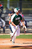 Farmingdale State Rams Dalton McCarthy (15) hits a home run during the first game of a doubleheader against the FDU-Florham Devils on March 15, 2017 at Lake Myrtle Park in Auburndale, Florida.  Farmingdale defeated FDU-Florham 6-3.  (Mike Janes/Four Seam Images)