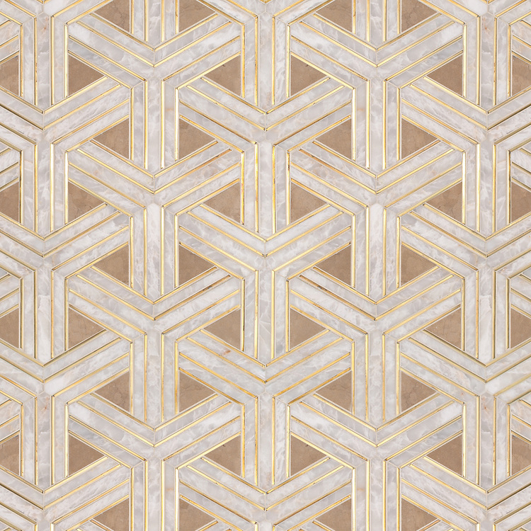 Y Weave, a stone waterjet mosaic, show in honed Lagos Gold, Cloud Nine, and brass liners.  Design by Paul Schatz for New Ravenna.