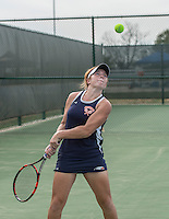 STAFF PHOTO ANTHONY REYES &bull; @NWATONYR<br /> Allye Darter, with Rogers Heritage, returns a volley during the 7A-West Conference girls tennis tournament Wednesday, Oct. 8, 2014 at the Springdale Har-Ber tennis courts.