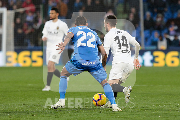 Getafe CF's Damian Suarez and Valencia CF's Jose Gaya during La Liga match between Getafe CF and Valencia CF at Coliseum Alfonso Perez in Getafe, Spain. November 10, 2018.