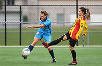 20191005  -  Diksmuide , BELGIUM :  Famkes Sarah Verschaeve pictured in a duel with Mechelen's Pure Eke during a footballgame between the womensoccer teams from Famkes Westhoek Diksmuide Merkem and KV Mechelen Ladies A , on the 5th matchday in the first division , 1e nationale , in Diksmuide - Belgium - saturday 5th october 2019 . PHOTO DAVID CATRY   Sportpix.be