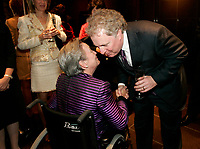 Montreal (Qc) CANADA - file photo-Nov23, 2006- <br /> Jean Charest , Quebec Premier (L), Lise Thibault, Lieutenant Governor of Quebec  (R) .<br /> <br /> Charest was elected for the first time  April 14 2003, he is seeking a 3rd term in the  Quebec provincial election which will be held Dec 14, 2008.<br /> <br /> Lise Thibault (born April 2, 1939) is a Canadian civil servant who was appointed Lieutenant Governor of Quebec on January 30, 1997. As a former Vice-Regal representative of Elizabeth II, as Queen in Right of Quebec, she is styled The Honourable for life.<br /> <br /> Prime Minister Jean ChrÈtien, the Governor General appointed her Lieutenant-Governor of Quebec, following the resignation of Jean-Louis Roux. She became Quebec's first female viceroy, and the first disabled lieutenant governor in Canada; Thibault was permanently disabled in a tobogganing accident as a teenager, and uses a wheelchair. In February 2005 Madame Thibault suffered a stroke.<br /> <br /> She is one of the longest serving lieutenant governors in Canadian history, having served for over ten years. In 2007, she was accused of spending beyond the limits of her expense account. Prime Minister Stephen Harper announced that he would recommend the appointment of a new Lieutenant Governor after the provincial election; it was said by the Prime Minister's Office that the decision to replace Thibault had nothing to do with her spending. The appointment of her successor, Pierre Duchesne, was announced on May 18, 2007.<br /> Questions on her spending continued after her departure, with federal and provincial auditors general pointing to $700,000 in unjustified expenses (CBC). The files were turned over to the SuretÈ du QuÈbec (SQ) and Royal Canadian Mounted Police (RCMP) for investigation.<br /> <br /> Photo (c)  Images Distribution