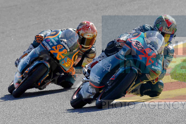 Gabor Talmacsi rides in front during the 125cc race at the Valencia MotoGP race