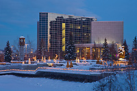 Golden heart plaza,  Rabinowitz courthouse, downtown Fairbanks, Alaska in the winter.