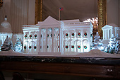 """The 2018 White House Christmas decorations, with the theme """"American Treasures"""" which were personally selected by first lady Melania Trump, are previewed for the press in Washington, DC on Monday, November 26, 2018.  The traditional White House gingerbread house on display in the State Dining Room.  This year it shows the National Mall with the White House as it's centerpiece. <br /> Credit: Ron Sachs / CNP"""
