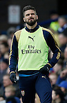 Olivier Giroud of Arsenal warms up as a substitute during the Barclays Premier League match at The Goodison Park Stadium. Photo credit should read: Simon Bellis/Sportimage