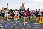 28 MAY 2016: Ross Denman of Wisconsin LaCrosse celebrates winning the men's 4x400 meter race during the Division III Men's and Women's Outdoor Track & Field Championship held at Walston Hoover Stadium on the Wartburg College campus in Waverly, IA. Wisconsin LaCrosse won the race with a time of 3:10.50. Conrad Schmidt/NCAA Photos