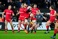 Jackson Wray of Saracens I action during the Heineken Champions Cup Round 5 match between the Ospreys and Saracens at the Liberty Stadium in Swansea, Wales, UK. Saturday January 11 2020.