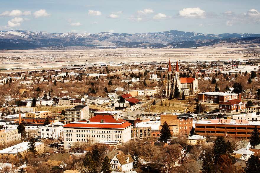 The Cathedral of Saint Helena rises above surrounding buildings in Helena, Montana.