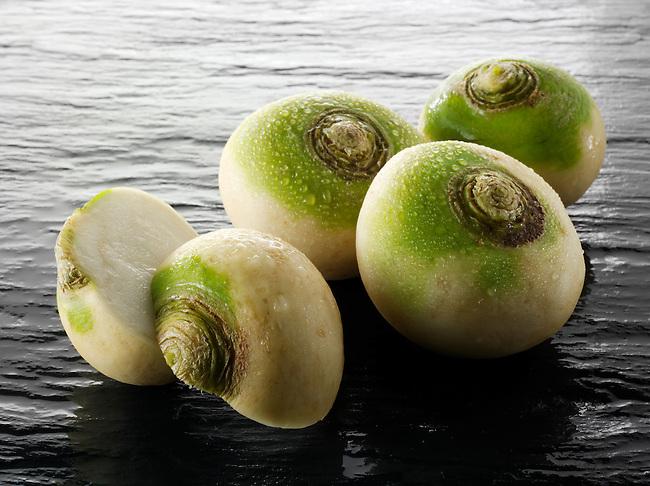 Fresh whole turnips vegetable stock photos