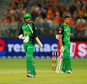 3rd February 2019, Optus Stadium, Perth, Australia; Australian Big Bash Cricket League, Perth Scorchers versus Melbourne Stars; Ben Dunk of the Melbourne Stars walks off after being given out by the third umpire after the fielder said the ball hit the ground first