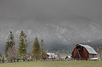 Rustic Farm flanked by Eagle Cap Wilderness in Wallowa County,Oregon