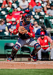 25 February 2019: Washington Nationals catcher Yan Gomes in action during a pre-season Spring Training game against the Atlanta Braves at Champion Stadium in the ESPN Wide World of Sports Complex in Kissimmee, Florida. The Braves defeated the Nationals 9-4 in Grapefruit League play in what will be the Braves' last season at the Disney / ESPN Wide World of Sports complex. Mandatory Credit: Ed Wolfstein Photo *** RAW (NEF) Image File Available ***
