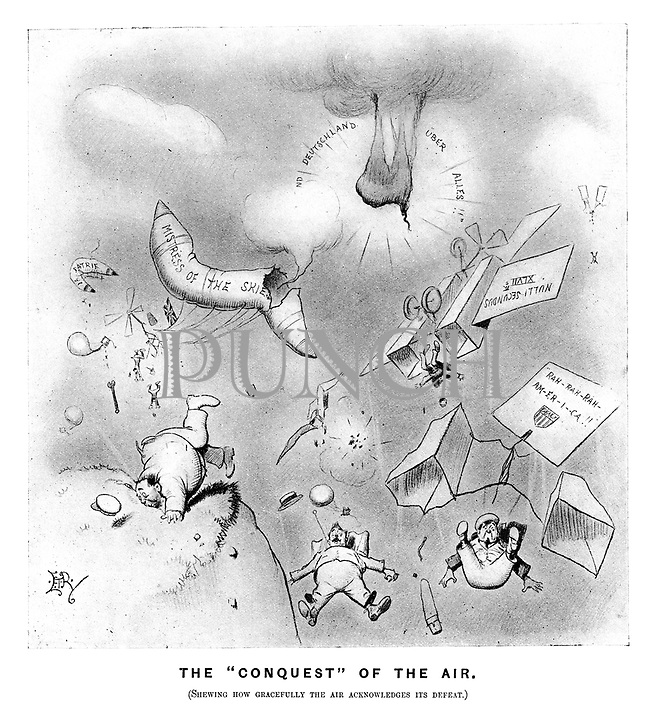 "The ""Conquest "" of the air. (Shewing how grcefully the air acknowledges its defeat."" (an Edwardian cartoon shows the major powers' failures of flight as their warplanes blow up or crash)"