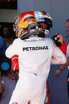Spanish F1 Grand Prix Pirelli 2017.<br /> Lewis Hamilton (Mercedes) &amp; Sebastian Vettel (Ferrari).