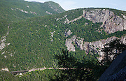 Crawford Notch State Park - Mount Willard in the White Mountains, New Hampshire USA. The Willey Brook Trestle along the old Maine Central Railroad can be seen on the lower left. The Mt. Willard Section House was located just to the right of this trestle. This railroad is now used by the Conway Scenic Railroad.