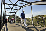 JEJU, SOUTH KOREA - APRIL 25:  Marcus Fraser of Australia crosses a bridge on the 15th hole during the Round Three of the Ballantine's Championship at Pinx Golf Club on April 25, 2010 in Jeju, South Korea. Photo by Victor Fraile / The Power of Sport Images
