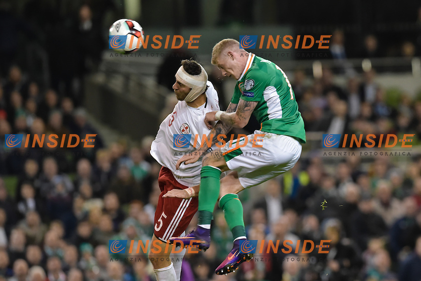 James McClean of Republic of Ireland heads at goal ahead of Solomon Kvirkvelia of Georgia during the FIFA World Cup 2018 Qualifying Group D match between Republic of Ireland and Georgia at Aviva Stadium on October 6th 2016 in Dublin, Ireland. <br /> Dublino 06-10-2016 Calcio Qualificazioni mondiali <br /> Irlanda Georgia <br /> Foto PHCImages/Panoramic/Insidefoto <br /> ITALY ONLY