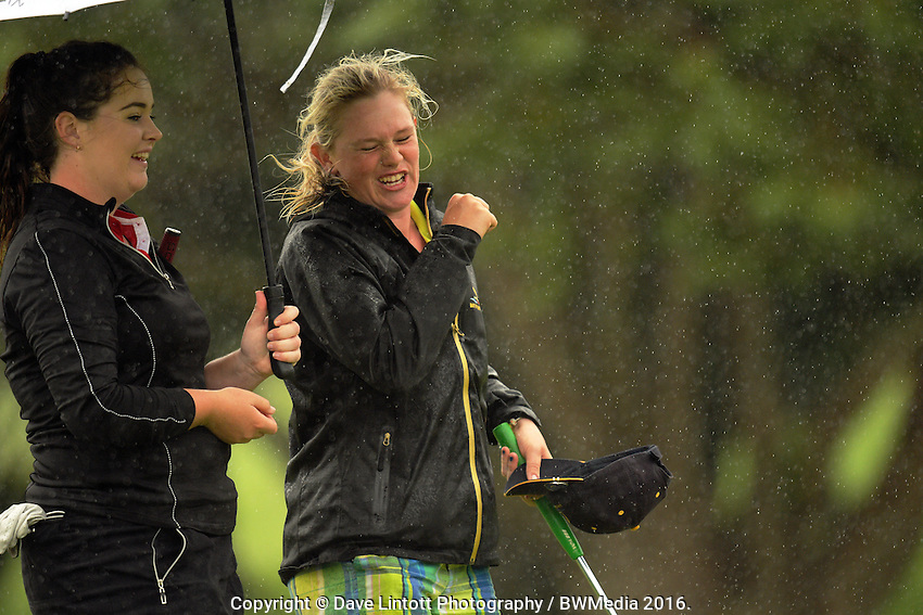 Emmalee Morrell celebrates beating Hillary O'Connor. 2016 Toro Women's Interprovincial Golf Championship at Westown Golf Club in New Plymouth, New Zealand on Saturday, 10 December 2016. Photo: Dave Lintott / lintottphoto.co.nz