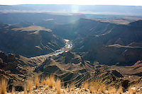 Fish River Canyon from the main view point. This little known wonder is 161km long, up to 27km wide and almost 550m at its deepest, making it probably second in size only to Arizona's Grand Canyon.