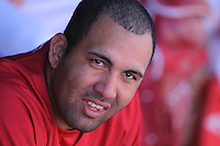 TEMPE - MARCH 14:  Kendry Morales of the Los Angeles Angels of Anaheim sits in the dugout during a spring training game against the Chicago Cubs on March 14, 2010 at Tempe Diablo Stadium in Tempe, Arizona. (Photo by Brad Mangin)
